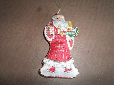VINTAGE CHRISTMAS / XMAS TREE FABRIC ORNAMENT - 6""