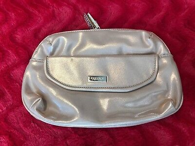Versace Parfums Gold Patent Leather Look Zippered Clutch Bag