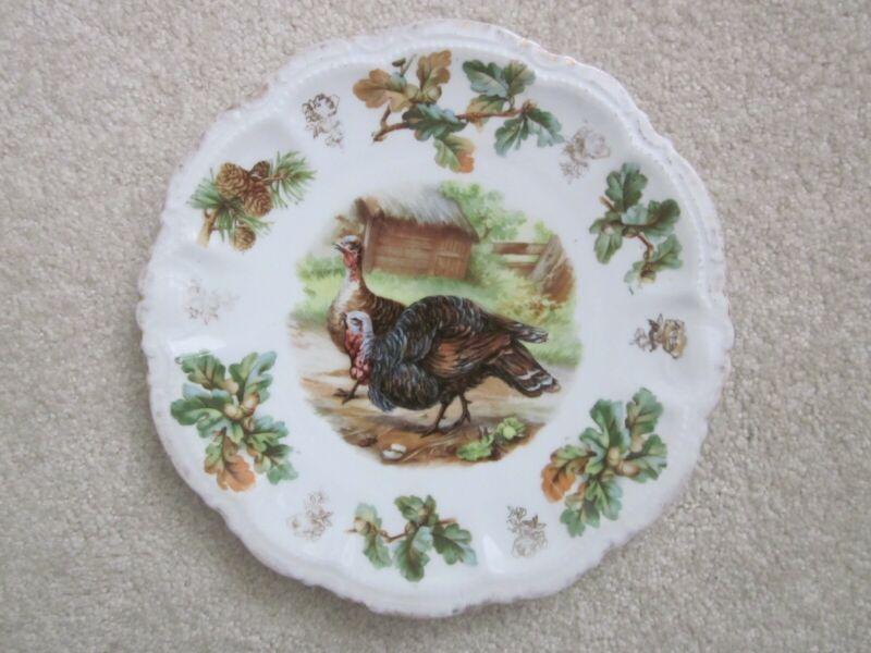 Antique TURKEYS Pinecones & Acorns Porcelain Plate 9