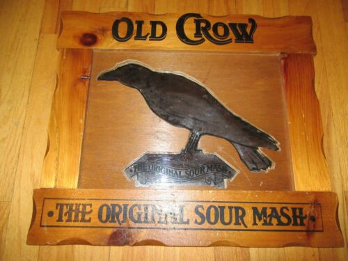 "OLD CROW KENTUCKY STRAIGHT BOURBON WHISKEY ""ORIGINAL SOUR MASH"" MIRROR/BAR SIGN!"