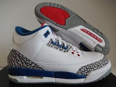 NIKE AIR JORDAN 3 RETRO OG BG WHITE-RED-TRUE BLUE SZ 5.5Y-WMNS SZ 7 [854261-106]