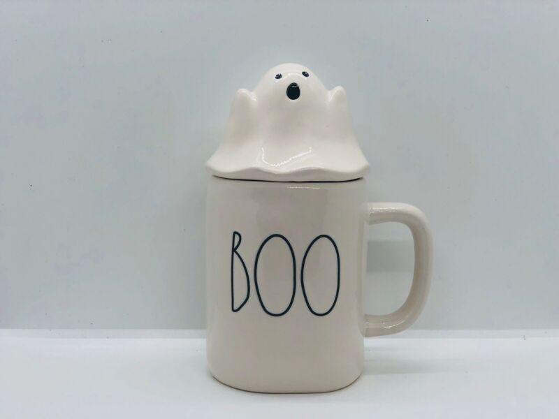 Rae Dunn Halloween By Magenta Ivory BOO Mug With Ceramic White Ghost Mug Topper