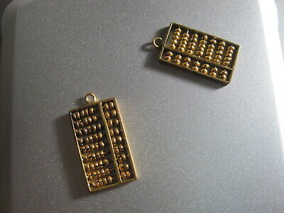 VINTAGE Pair of 14K ABACUS CHARMS (beads move)