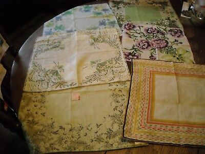 Lot of 6 vintage Carol Stanley hankies with stickers