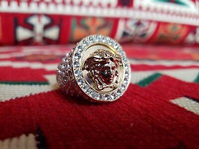 Versace Men's Women's Gold Medusa Swarovski Crystal Greek Logo Ring US 7.5 8 8.5