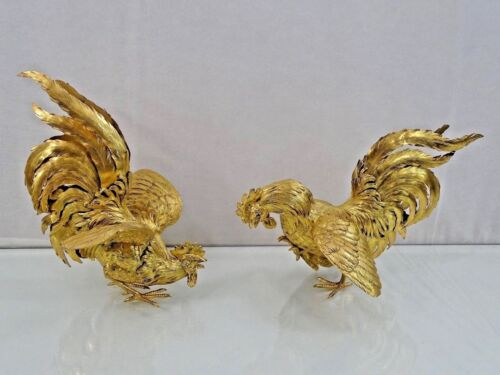 MAGNIFICENT SILVER GILT PAIR ROOSTERS BIRDS TABLE ORNAMENT ANTIQUE sterling 19c