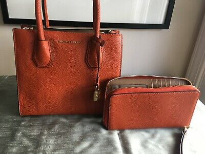 Michael Kors sm satchel orange pebbled leather w cross body strap & wallet