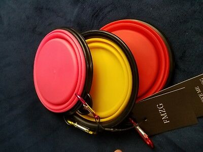 collapsible pet bowls with red yellow pink dog with ball