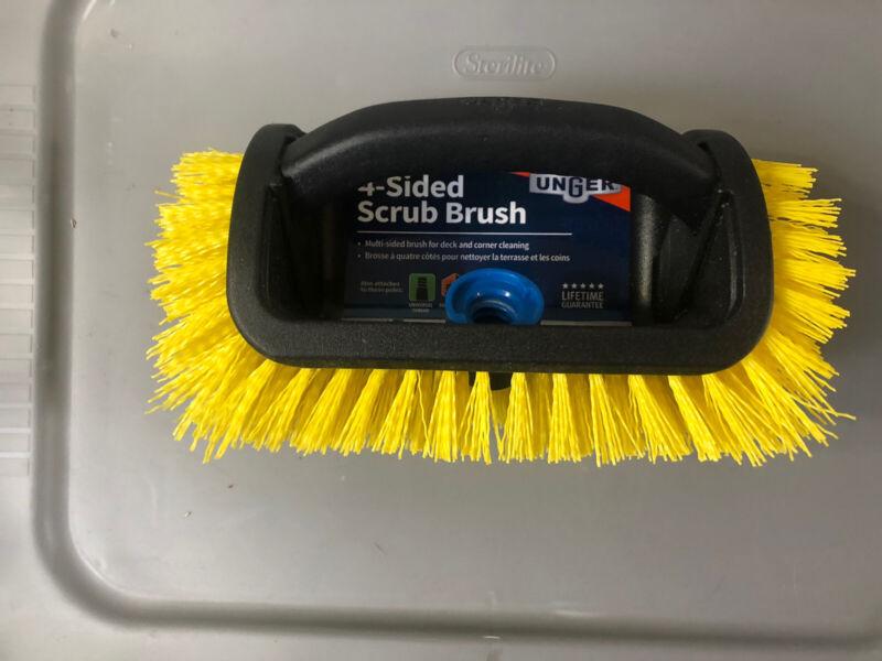 Unger Scrub Brush Lock On Pole 4 Sides Handheld Scrubbing Stiff Outdoor Yellow