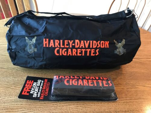 Vintage New Sealed HARLEY DAVIDSON CIGARETTES Nylon Duffel Bag NOS Motorcycles