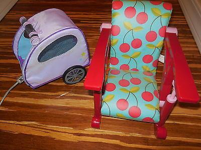 """American Girl AG PET TRAILER 18"""" Dolls Carrier + OG Table Tray Chair for Dolls"""