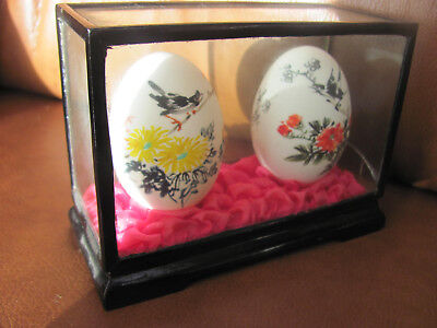 Shanghai China. Two Display Painted Eggs in Case