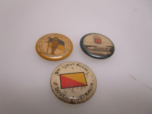Lot of 3 Antique World War 1 WWI Era Australian Pin Back Buttons (AC)