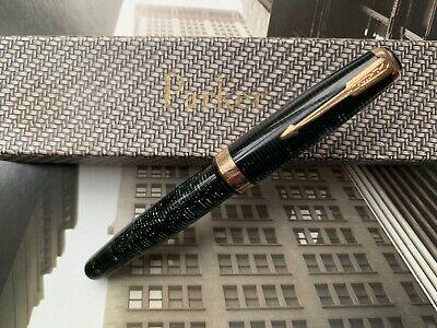 Vintage 1930s Art Deco PARKER Vacumatic Green Maxima Single Jewel Fountain Pen