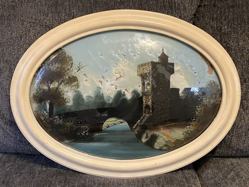 Antique Victorian Beauty Bubble Glass Frame Oval Reverse Painting Original
