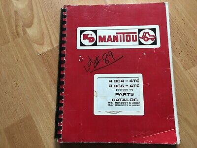 Manitou R834 4tc R836 4tc Telescoping Rough Terrain Lift Truck Parts Catalog Oem