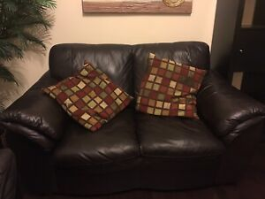 Genuine Leather Couches from Brick - love seat and sofa