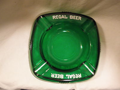 VINTAGE REGAL BEER EMERALD GREEN GLASS ASHTRAY