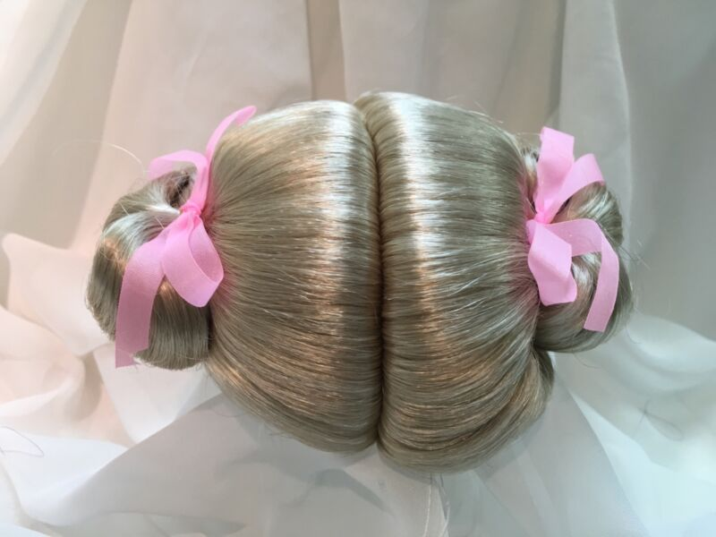 "13"" Curly Ponytails Light Blonde Doll Wig Reborn OOAK BJD Bisque Repair"