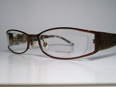 "New Ladies MARCHON ""M721"" Cord Rimless Eyeglasses Frame Brown 53-18 M-L List$160"