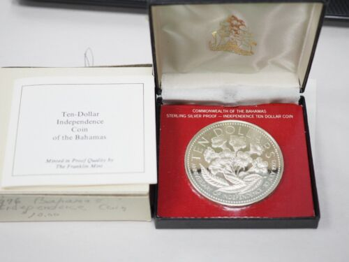 1976 Bahamas Independence Day 10 Dollar Silver  Proof Coin with Case & COA