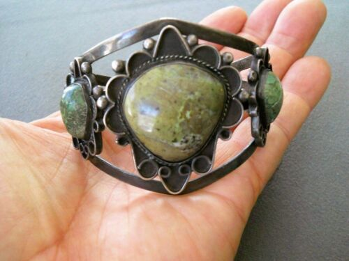 Vintage Southwestern 3-Stone Green Turquoise Sterling Silver Cuff Bracelet