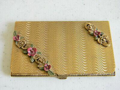Fabulous Vintage Retro Art Deco Gold Tone Business Card Holderenamel Flowers