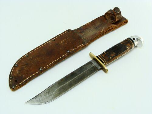 "VINTAGE WW2 WESTERN USA #46 6"" STAG SHARK FIGHTING BOWIE KNIFE & SHEATH KNIVES"