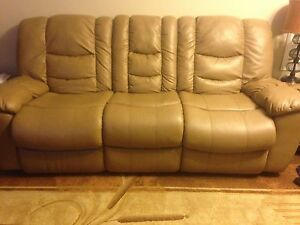 Coffee-Beige Recliner Sofa Set For Sale