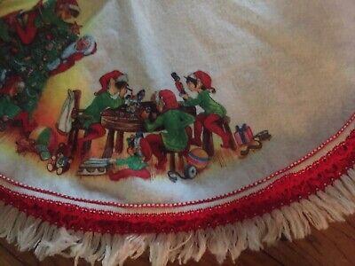 Vintage Felt Christmas Tree Skirt Elves Pixies Santa Red & White Fringe HTF Nice