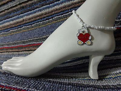 BEAR love HEART enamel charm ankle bracelet beads anklet beach stretchy handmade