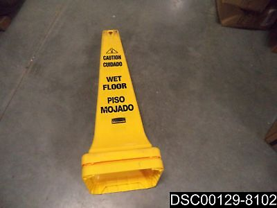 Qty 4 Rubbermaid Fg627677yel Safety Cone Caution Wet Floor Engsp