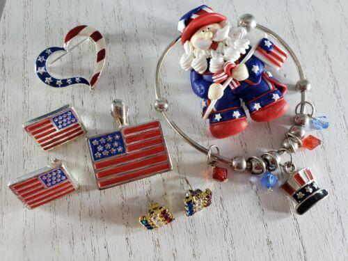 Patriotic American Flag  Pins Earrings Bracelet Lot 4th of JULY Independence