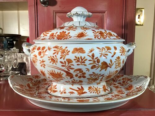 Mottahedeh Sacred Bird & Butterfly Historic Charleston Large Tureen and Platter