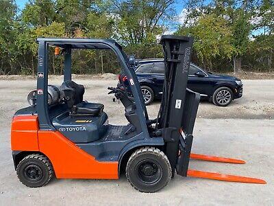 Toyota 8fgu25 Dual Fuel Gas Propane 5000 Lbs Pneumatic Side-shift Forklift
