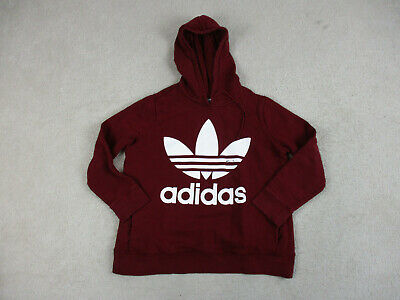 Adidas Sweater Adult Extra Large Red White Trefoil Spell Out Hoodie Hooded Men *