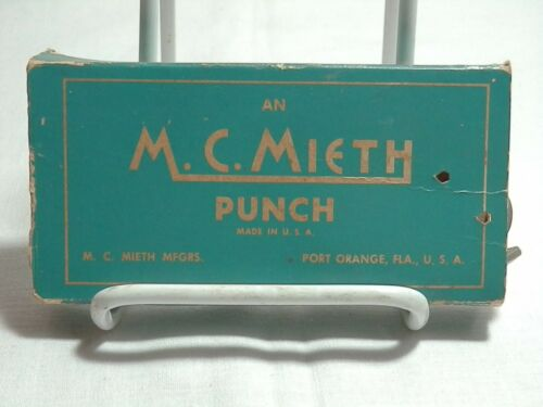 Vintage M.C. Mieth MFG CO Railroad Conductor Metal Ticket Hole Punch with box