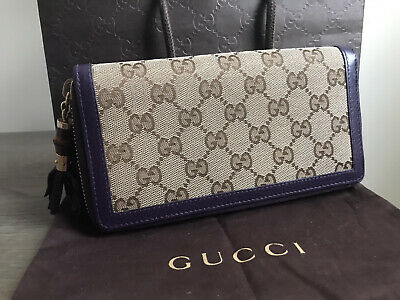 Auth. Gucci Monogram Bamboo Zip Wallet