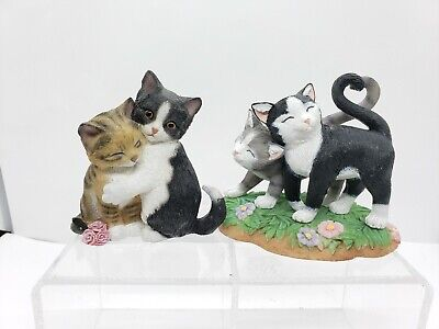Lenox Cat Figurine Statue Lot of 2 Kitty Sweethearts Heart Tails Valentine Resin