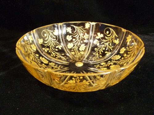 STUNNING MOSER BOHEMIAN ENGRAVED GILT INTAGLIO GLASS BOWL – CIRCA 1900