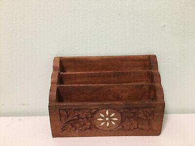 Vintage India Wood Hand Carved Inlaid Letter Holder Desk Organizer