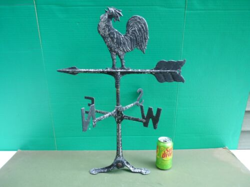 Vintage Cast Metal ROOSTER Directional Arrow Weathervane