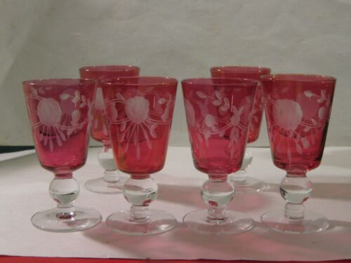 6 Red Bohemian? Nachtman? Crystal Cut To Clear Wine Goblets