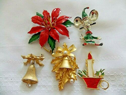 5 Vintage/Now Holiday Christmas Brooches Pins Signed #Y47