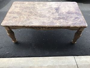 Antique style faux marble coffee table and end table Set Ashley