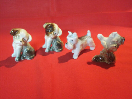 Vintage lot of 4 porcelain terrier dog figurines made in Japan