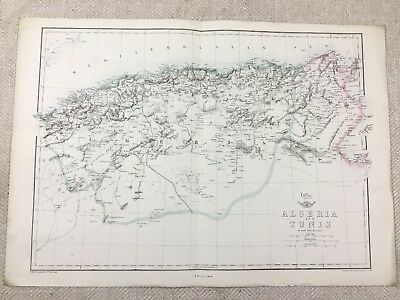 Antique Map of Algeria Tunis North Africa Hand Coloured 19th Century Original