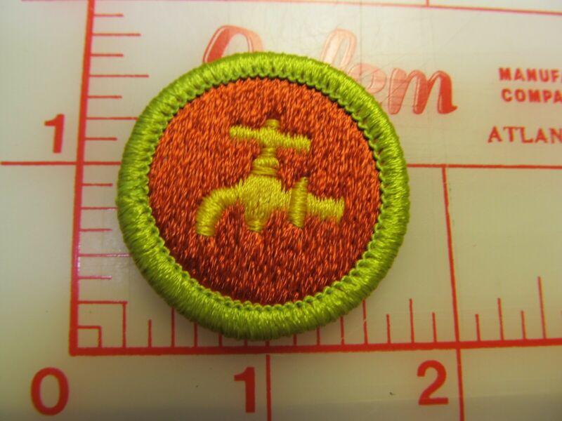 PLUMBING merit badge plastic backed patch (oP)