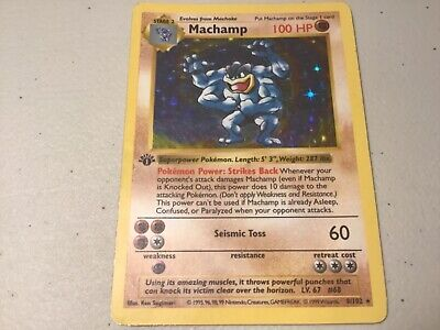 Machamp 1st Edition Shadowless Base Set 8/102 Holo Rare Pokemon Card Heavy Play