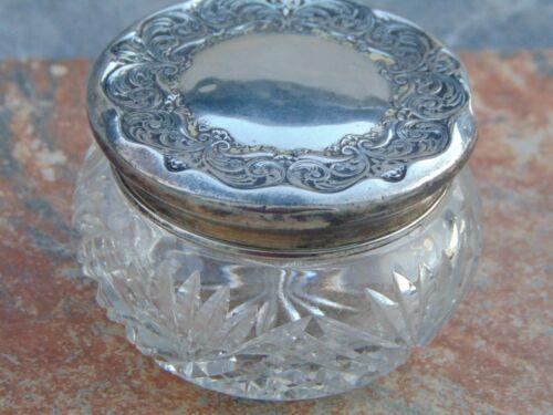 Foster & Bailey antique sterling lidded pressed glass dresser jar